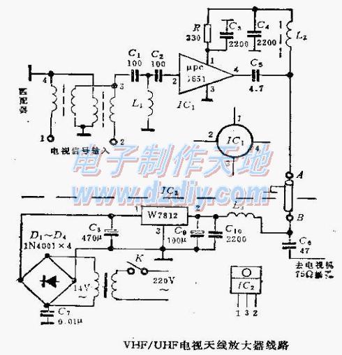 VHF/UHF电视天线放大器电路图