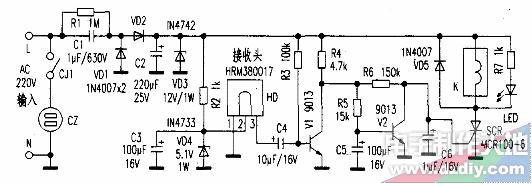 用可控硅制作的红外遥控开关电路的工作原理