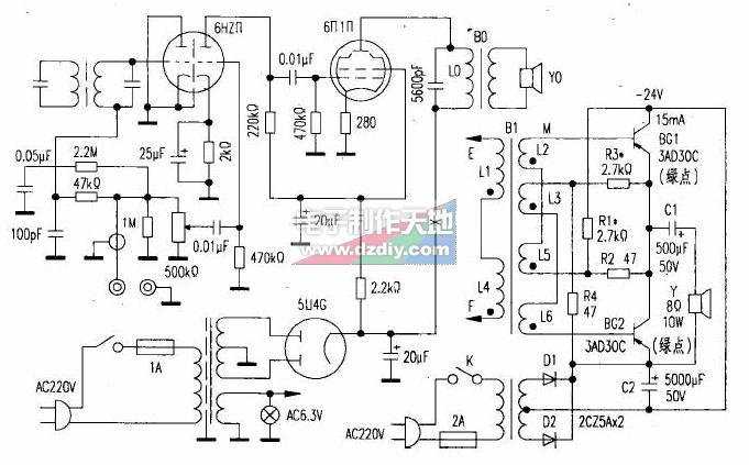 3AD30C胆石功放机的制作方法