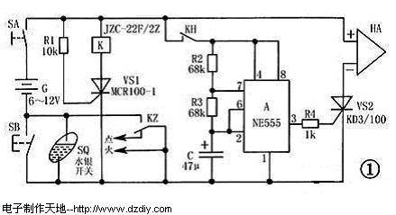 555摩托车防盗报警器电路的工作原理及制作