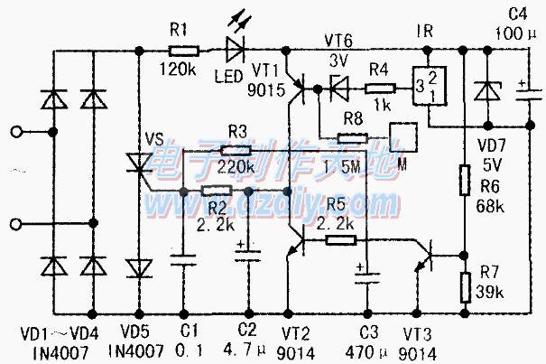 紅外遙控延熄開關電路的工作原理