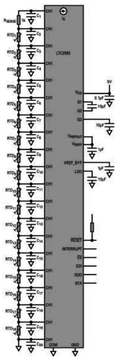 采用LTC2983 测量18个两线式RTD温度