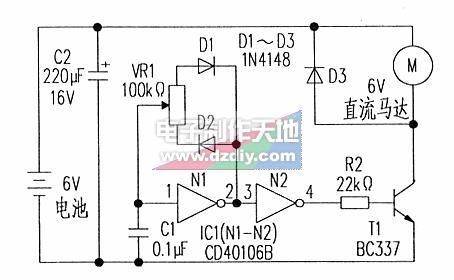 CD40106直流马达转速控制器