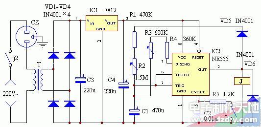 电子温控器代用装置电路图