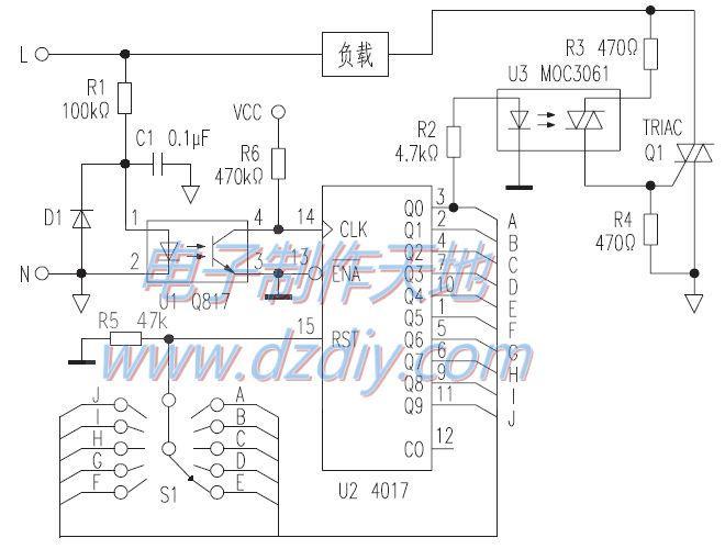 CD4017多挡可控硅调温电路
