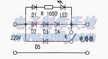 电烙铁发光提示和调温电路