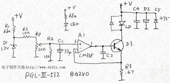 简单的激光器恒流驱动电路