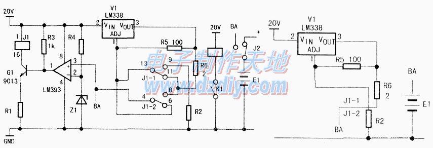 利用LM338制作蓄电池充电器,LM338 Lead-acid battery charger