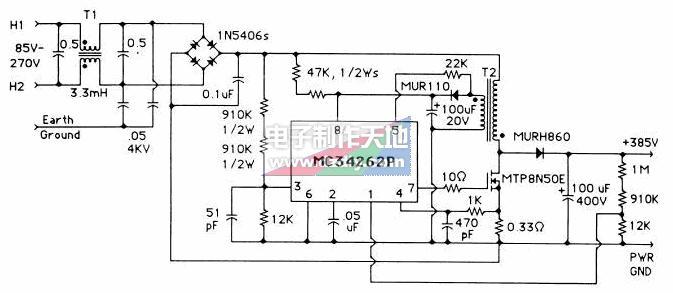 MC34262通用输入180W,385V输出功率因数校正电路,MC34262 PFC controller