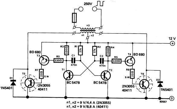 分析12V电源的功率逆变器电路