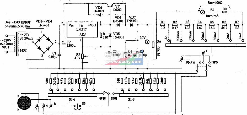 晶体三极管HFE的多挡电流测试电路的工作原理