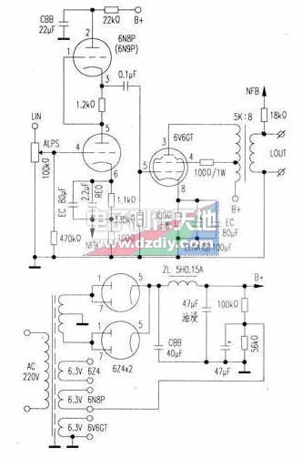 SRPP+6V6GT单端A类放大器的制作方法