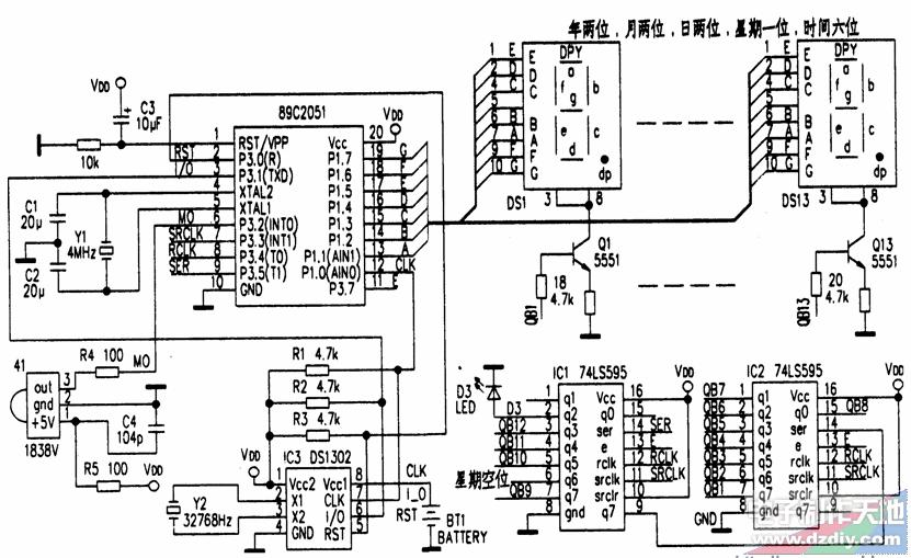 基于AT89C2051单片机制作的电子万年历的原理及设计