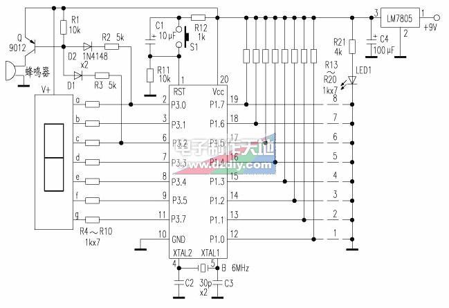 怎样用89C2051制作数字显示的断线报警器