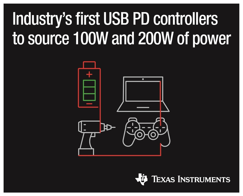 德州仪器(TI)推出业界首款200W和100W USB Type-C™和USB电力输送控制器,具有完全集成的电源路径