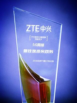 中兴通讯端到端5G网络切片方案,获得了5G网络最佳技术实践奖