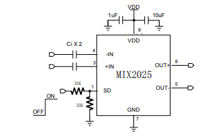 MIX2025高效率,无滤波器单声道D类音频放大器的中文数据手册免费下载