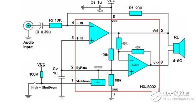 8002b功放应用电路图和引脚的作用分析