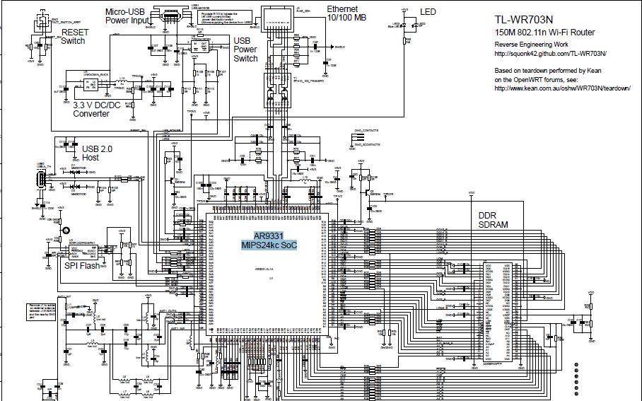 TL-WR703N无线迷你型3G路由器的电路图资料免费下载