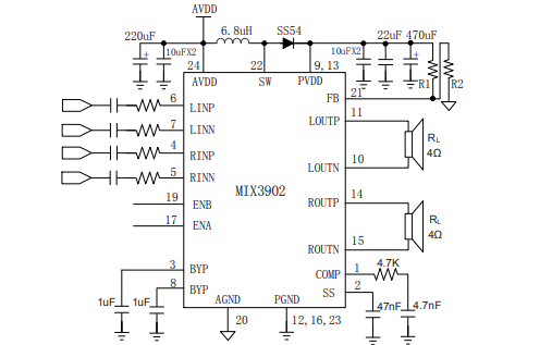 MIX3902高效率、无滤波器带防破音功能D类音频功率放大器数据手册