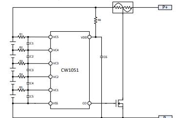 CW1051串联连接电池二次保护集成电路芯片资料免费下载