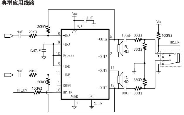 MIX3063带耳机输出功能的AB类音频功率放大器中文数据手册免费下载