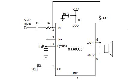 MIX8002单通道AB类音频功率放大器的中文数据手册免费下载