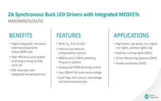 MAX20050/53同步降壓LED驅動器的特點...
