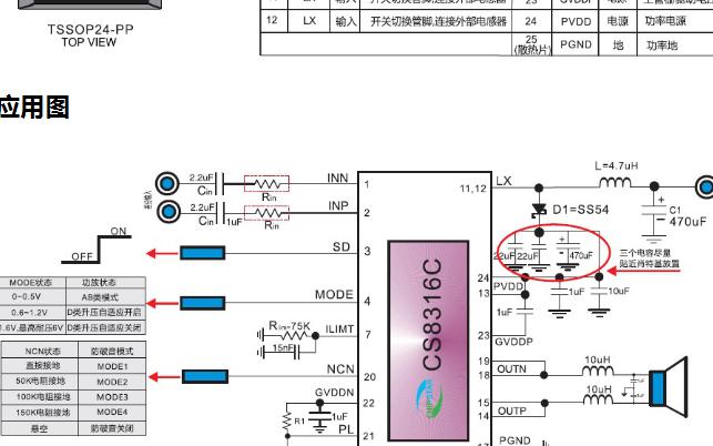 CS8316两节锂电池供电单声道25W/单节锂电池18W恒定功率输出单芯片方案