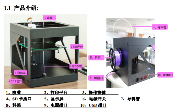 3D打印機使用說明書包括操作說明和注意事項和保養資料免費下載