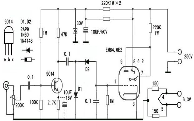6E2电子管电平驱动板的介绍和原理图资料免费下载