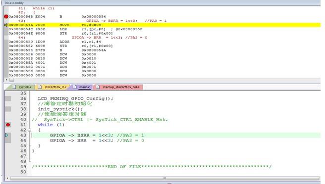 基于通过寄存器和调用库函数的方式,对比测试STM...
