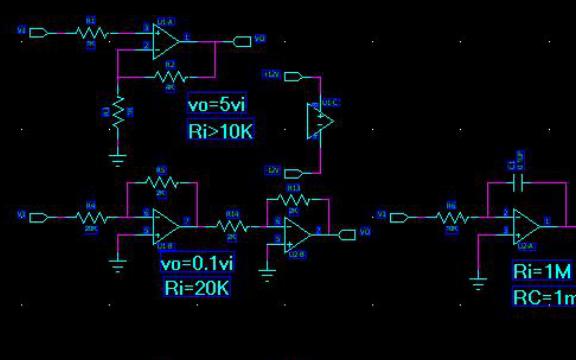集成运算放大器实现的运算电路设计实验
