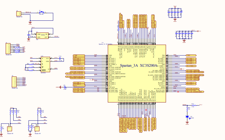 FPGA最小系统原理图的详细资料免费下载