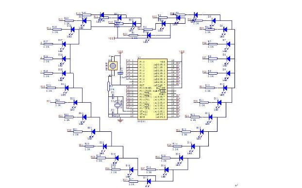 单片机心形流水灯程序详细资料免费下载