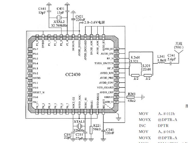 CC2430芯片的主要特点和引脚功能及典型应用电路的资料概述