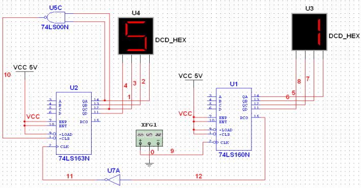 如何使用Multisim仿真一个60进制的计数器