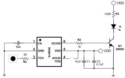 RH6016单通道触摸感应开关芯片的中文数据手册免费下载
