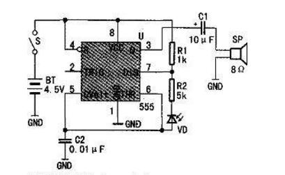 一种使用NE555制作光照变音电路的方法