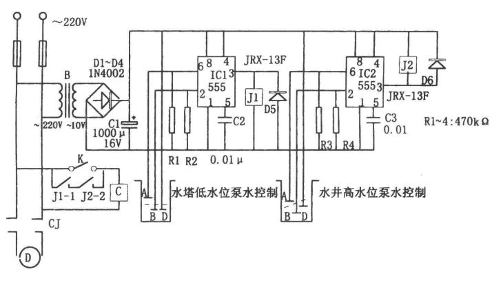 水塔自动控制电路原理图资料免费下载