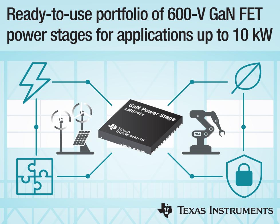 德州仪器新型即用型600V氮化镓(GaN)场效应晶体管(FET)功率级产品组合可支持高达10kW的应用
