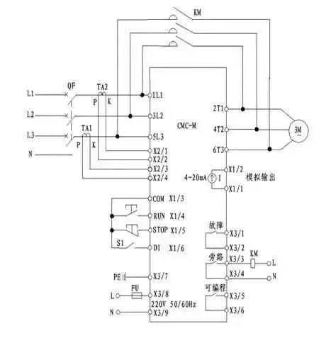 七种电机软启动器基本接线原理图