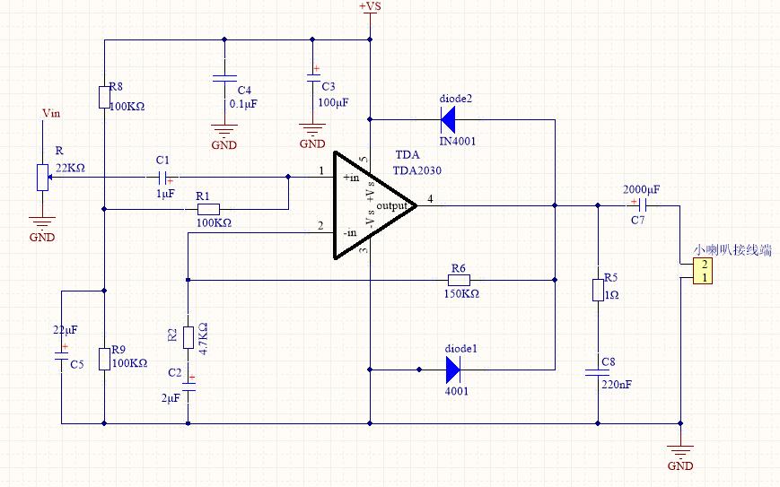 TDA2030功放测试板电路图免费下载