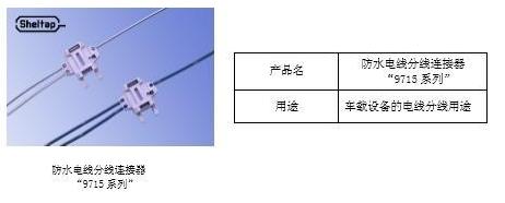 """車載用電線分線連接器""""9715系列""""成功產品化 鎖扣結構防水性能高"""