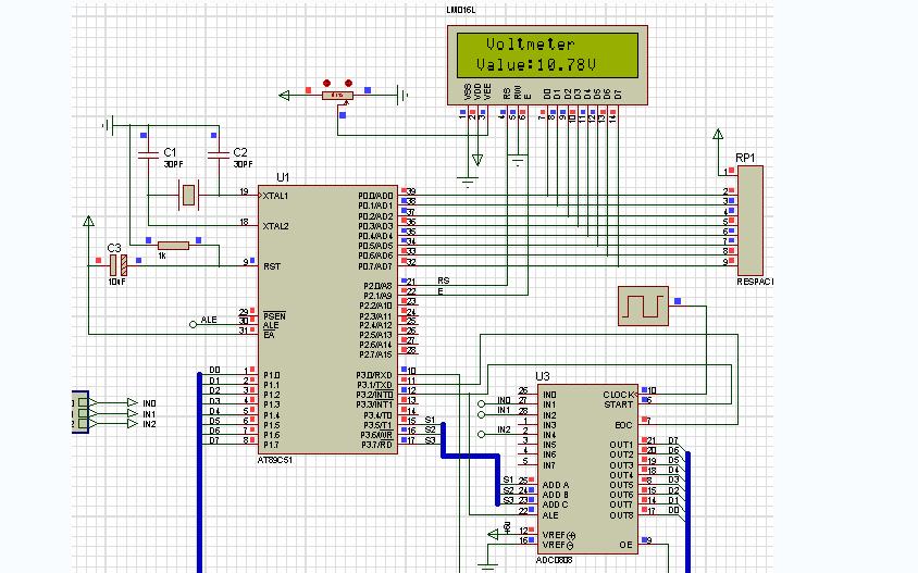 使用51单片机进行自动换挡电压表1602液显示程序和仿真文件的资料
