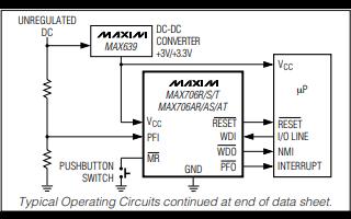 MAX706和MAX708微处理器的数据手册免费下载