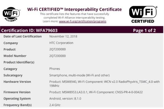 HTC中端新机通过Wi-Fi认证 搭载3GB的R...