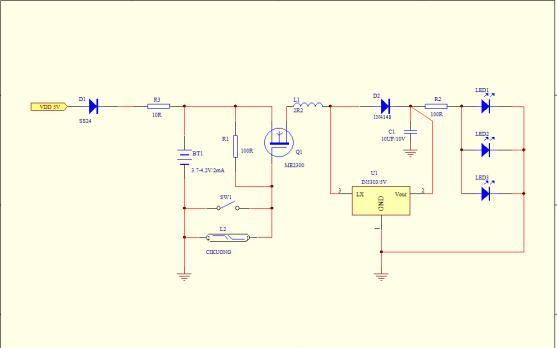 LED衣柜感应灯的电路原理图和PCB原理图的详细资料免费下载