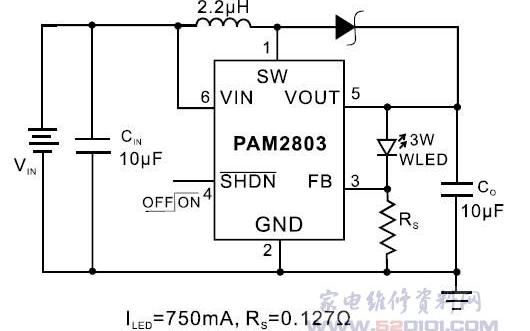 3W大功率白光LED驱动器PAM2803的引脚和应用电路的详细资料介绍
