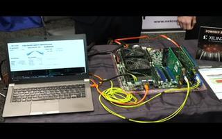 两个互连100G FPGA板的吞吐量与SW通信的演示